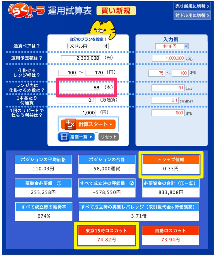 らくトラ試算表(米ドル)