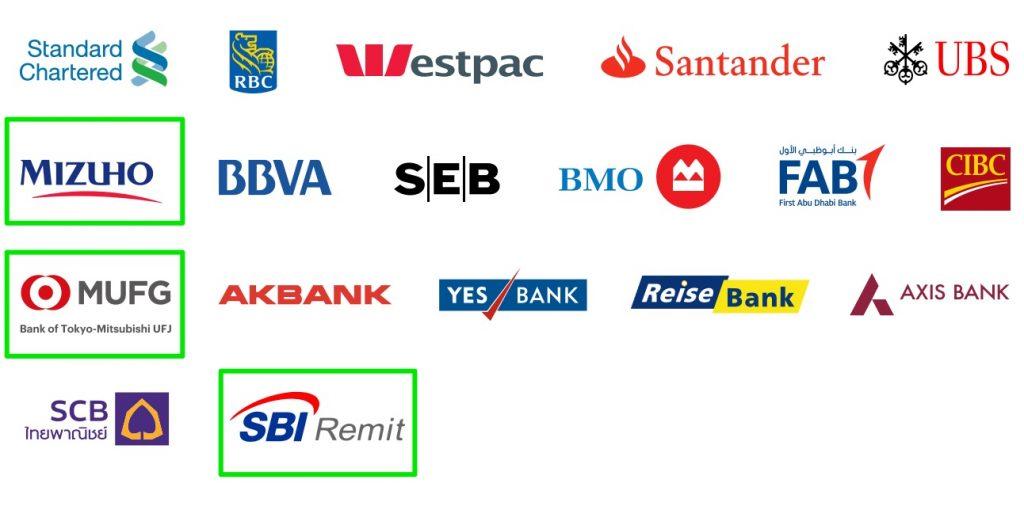 リップルが提携する金融機関