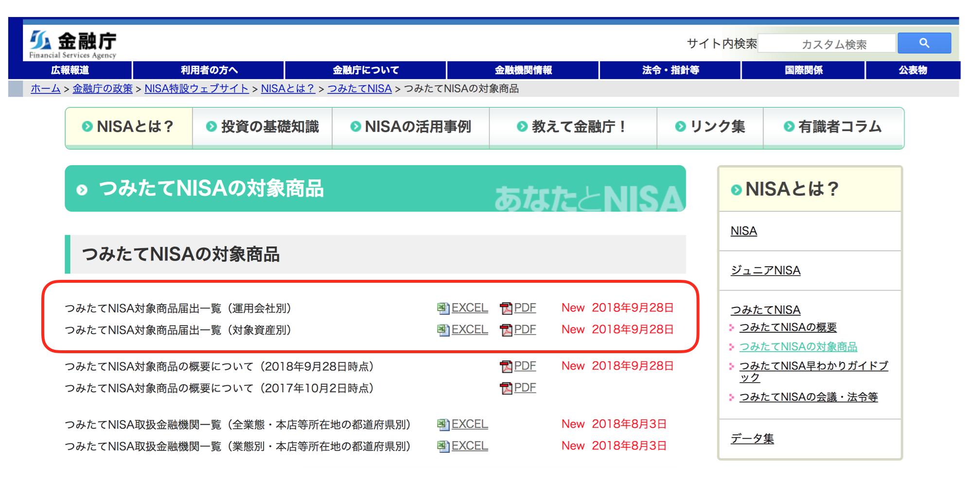 金融庁つみたてNISAの対象商品