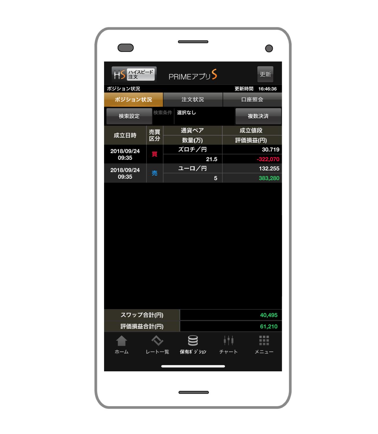 FXプライムbyGMO口座画面