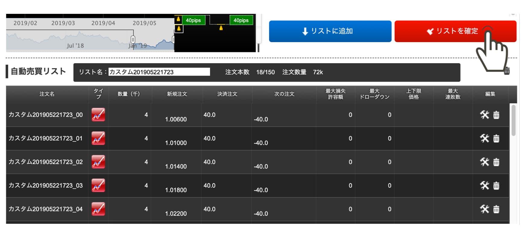 トライオートFX注文画面2