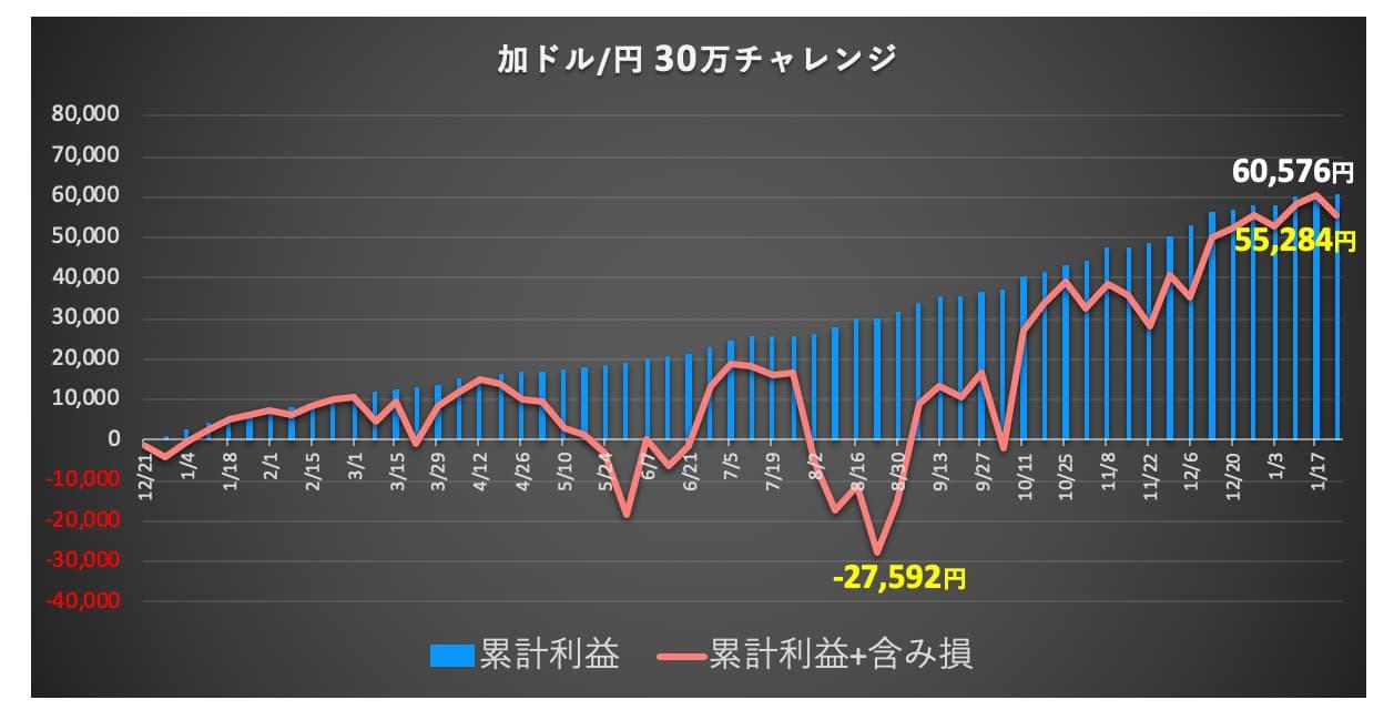 トラリピ30万チャレンジのグラフ