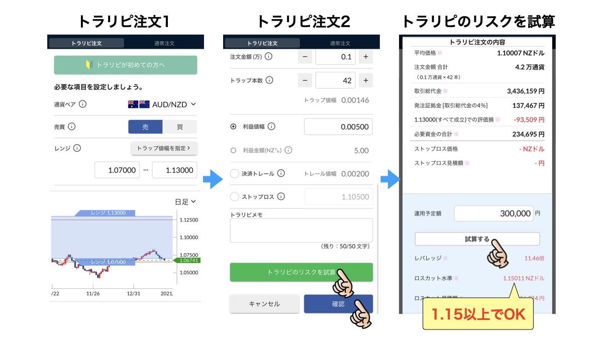 トラリピ注文画面(売り)