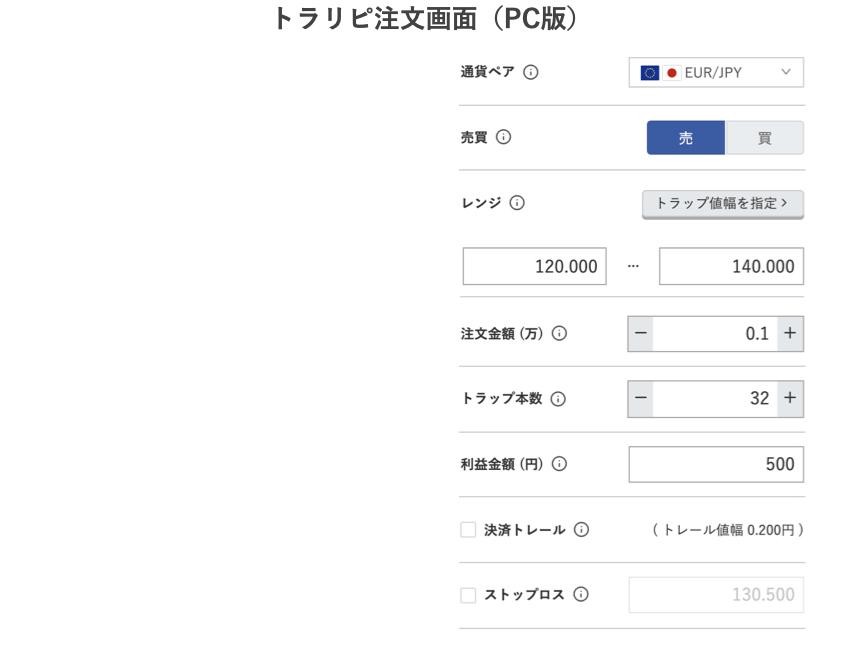 注文画面ユーロ円