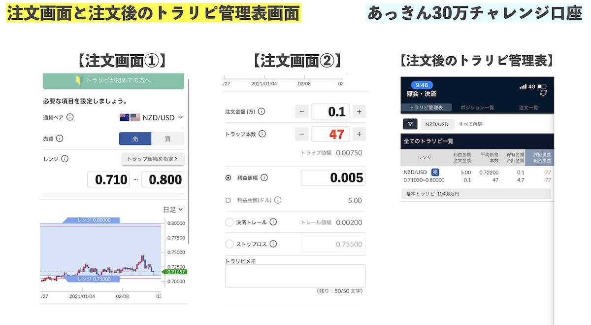 トラリピ注文画面(30万チャレンジ口座)