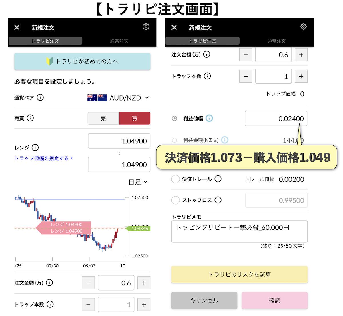 トラリピ注文30万円