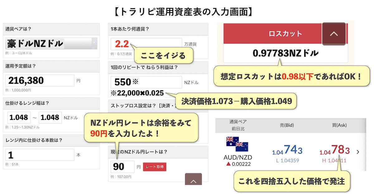 トラリピ運用試算表30万円